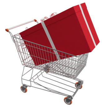 Red gift in Shopping Cart