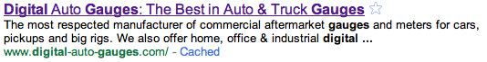 Top link is Title Tag, middle two lines are meta description text